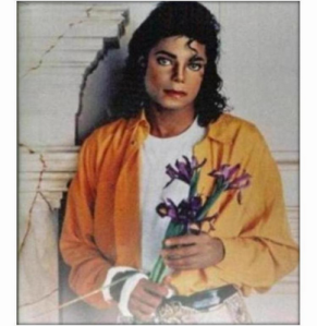 Michael Jackson holding Lily Flowers for LIBERIAN GIRL CD Cover