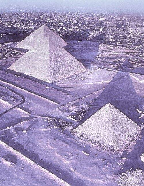 IT IS SNOWING IN EGYPT ONTO THE PYRAMIDS! *777*