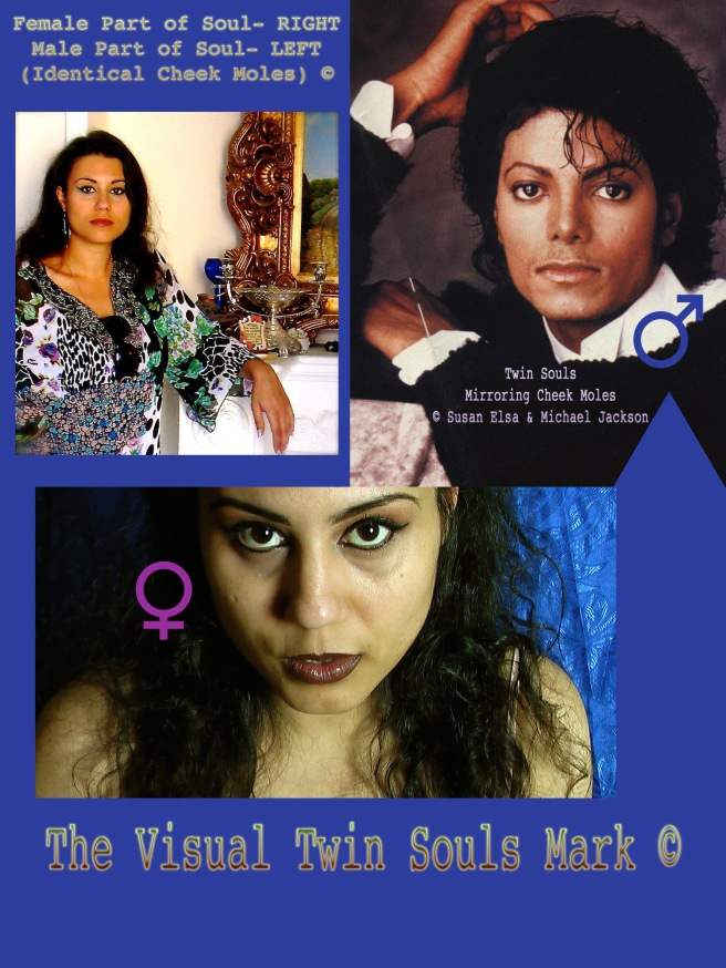 The Visual Twin Soul Flame: Michael Jackson & Susan Elsa IDENTICAL Left/Right Mirroring MOLES ©