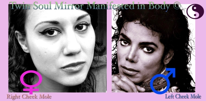 Clear Twin Soul Physical Signs of the Mirroring Souls on the Cheeks © Susan Elsa and Michael Jackson Cheek Moles