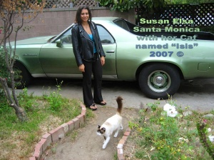 "Susan Elsa wearing SILVER ANKH Necklace in Santa Monica (L.A.) with her Cat ""Isis"" © 2007"