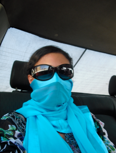 Personal Note: I felt embarrassed due to my allergic asthma to wear some surgeon´s mask, so I invented a new style, a silk scarf instead to protect my lungs from dust and sand in Egypt. ©