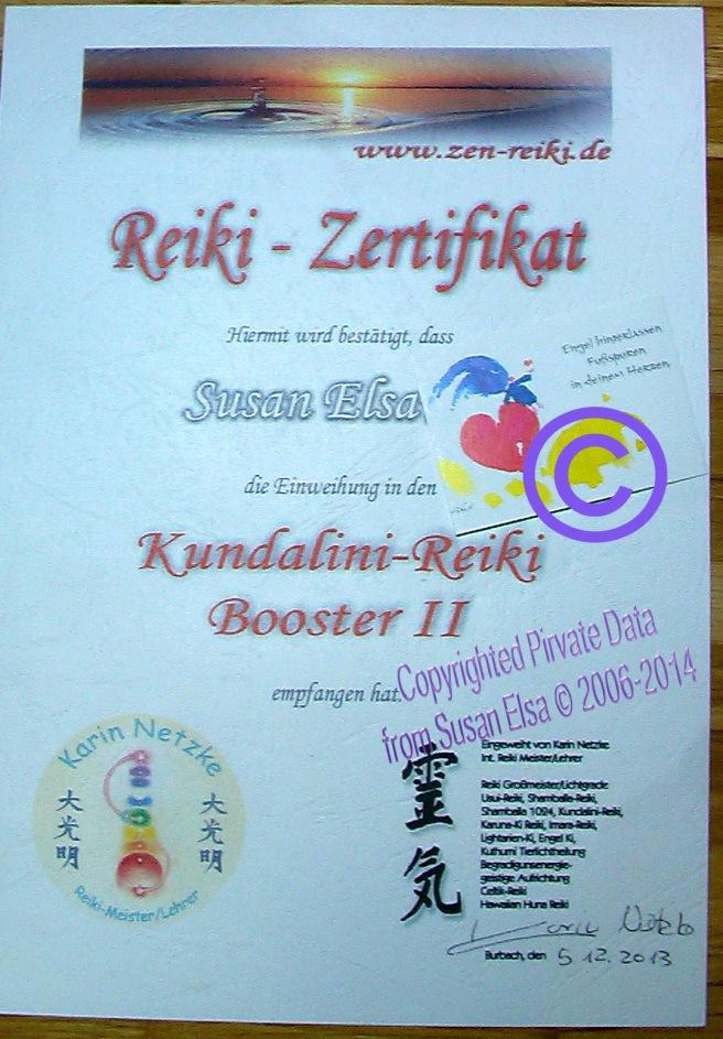 Susan Elsa: Kundalini Reiki Certificate Original German © 2013