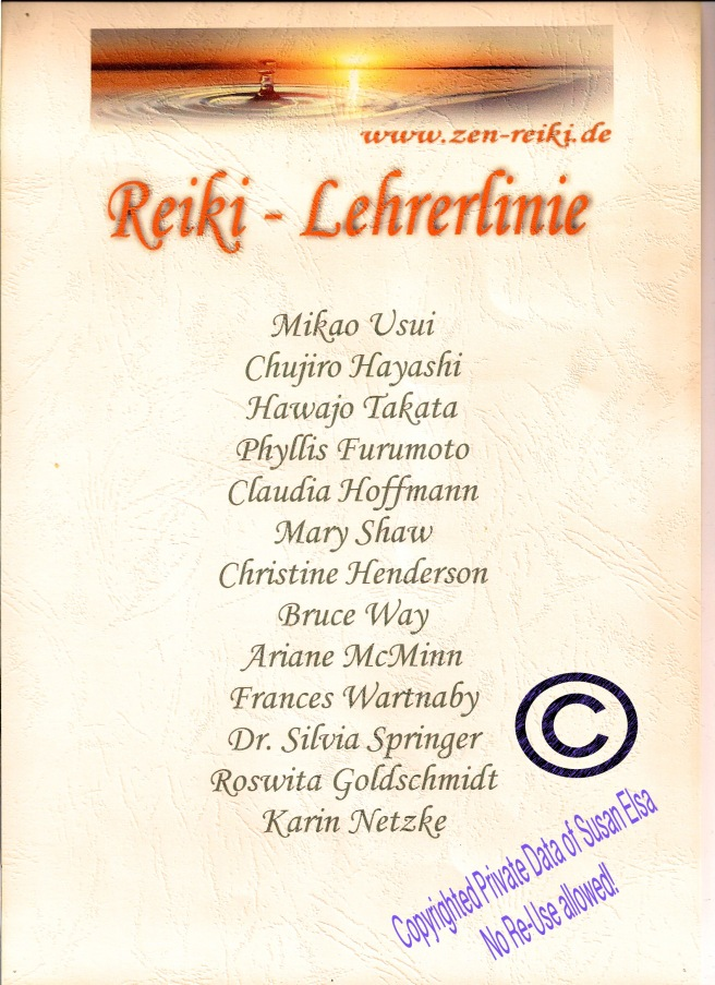 Reiki-Lehrerfinie (Teachers Tree) Susan Elsa: Reiki-Zertifikat Original © 2006