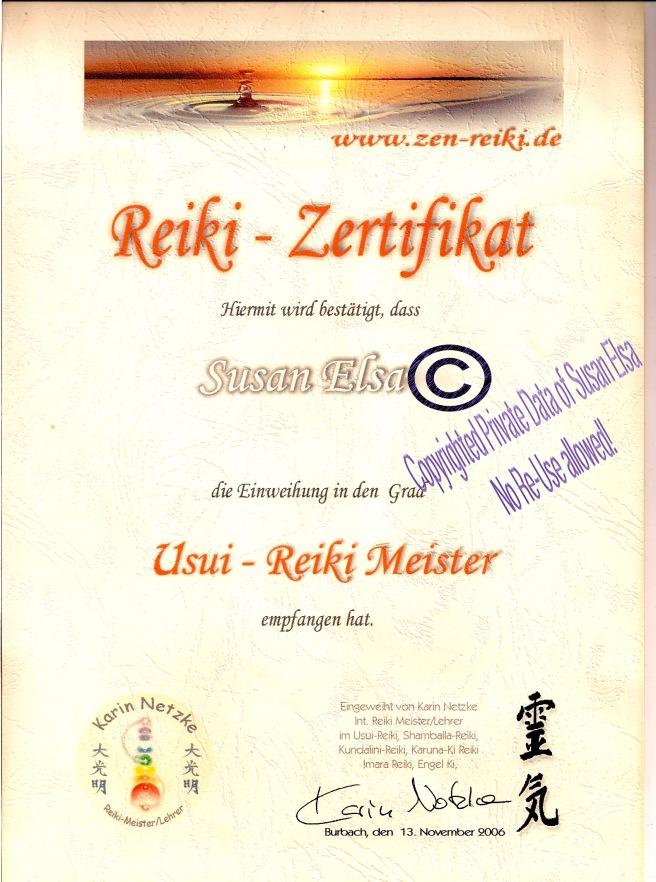 Susan Elsa: Reiki-Zertifikat Original © 2006