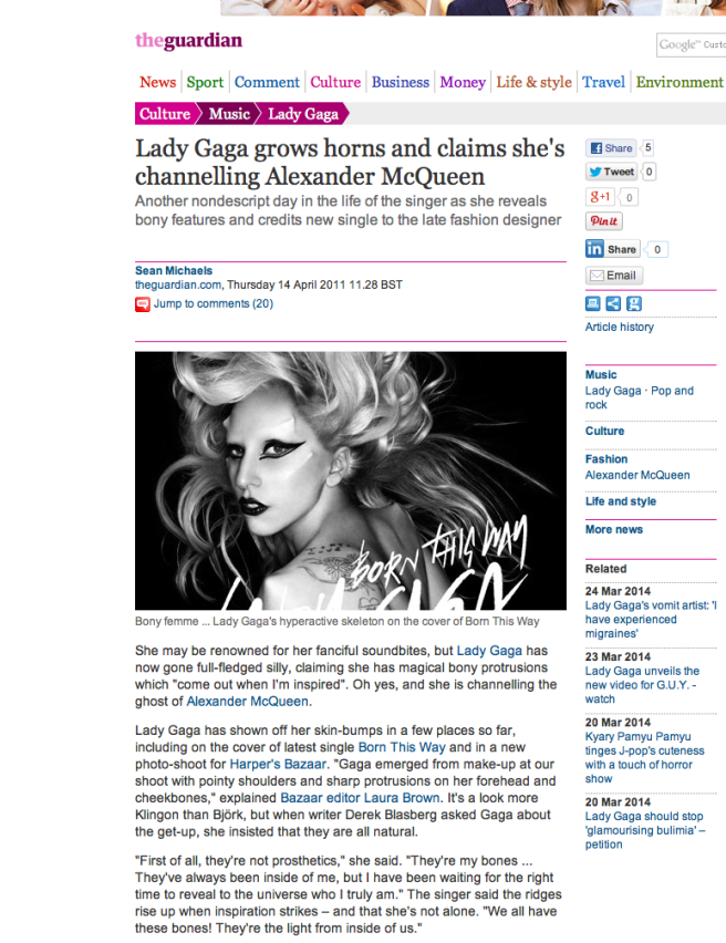 Lady Gaga PR Press Release for BORN THIS WAY on April 13th 2011 (exactly timed to Susan Elsa´s Birthday) ONE YEAR LATER!