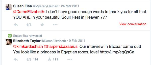 Susan Elsa Condolence Tweet and Prayer to Elizabeth Taylor March 2011 © Twitter Data Public Records- Michael Jackson Twin Soul Story Data Information Originals