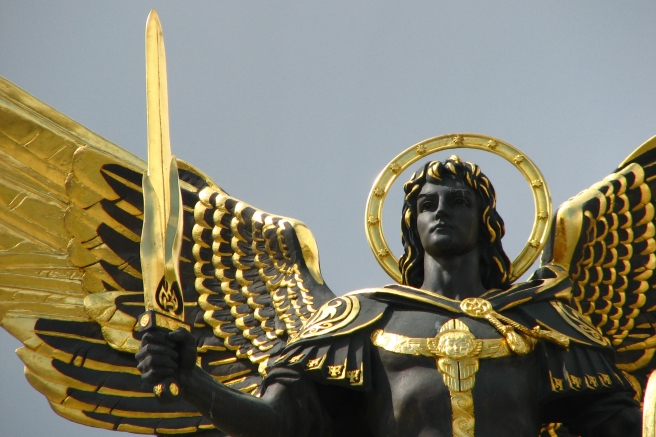Archangel Michael Statue Kiev Example Curly Hair Looks and Black Gold Colours