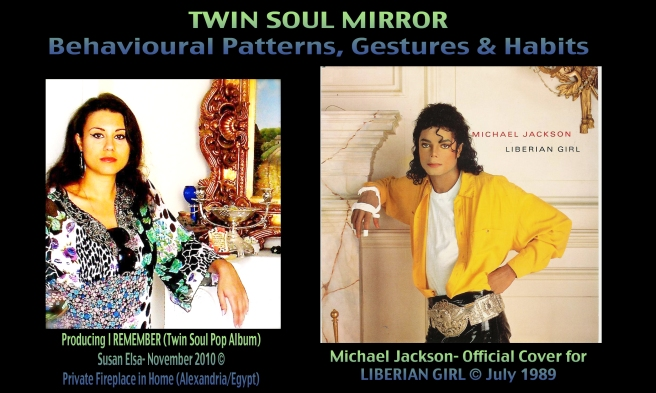 Twin Flame Mirror: Michael Jacksons Liberian Girl Song and Twin Soul Pop by Susan Elsa (Twins channel each other) ©