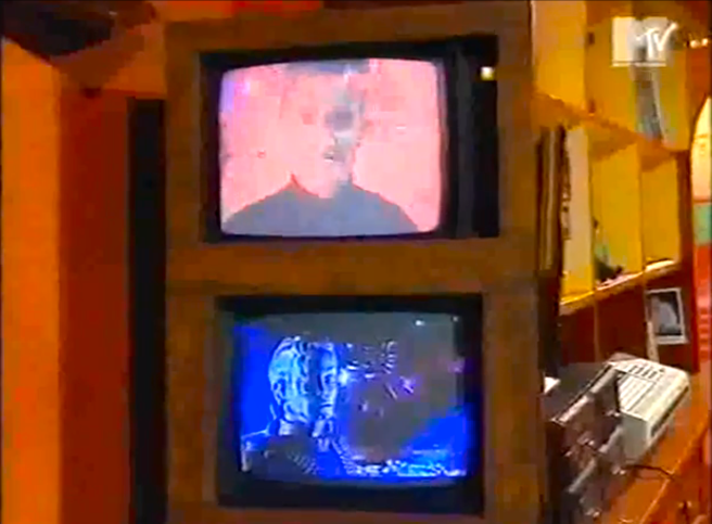 Original MTV Footage Screen Shot of Michael Jackson´s HIStory Teaser airing and presentation- Archangel Michael vs. Devil Joke © Susan Elsa Twin Soul Information about MJ