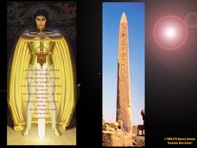 A Closer Look: MJ Obelisk Sword © TWIN EYE Mystery Schools *Exclusive Rare Article* - Twin Flame Symbols Meaning Beyond - Archangel Michael Jackson 777 Susan Elsa