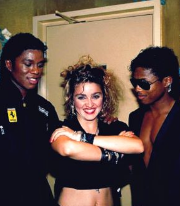 Madonna with the Jacksons Brothers Backstage early 80s- Michael Jackson Dangerous Album Cover Art: Ancient Egypt VS Rome Meanings
