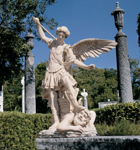 Photo for educational Purpose: Beautiful Archangel Michael pressing down the Devil Sculpture compared to Michael Jackson items at Neverland Ranch Home
