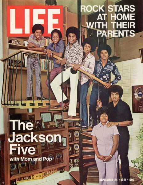 The Jackson Five with Father and Manager Joseph Jackson and Mother Katherine Jackson (Photo for Educational Purpose LIFE Magazine Cover)