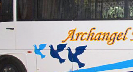Photo for educational Purpose: Archangel Michael Bus with 3 Blue Birds while Susan Elsa travels channeling with Michael Jackson November 2010 I REMEMBER/REMEMBER THE TIME JOURNEY