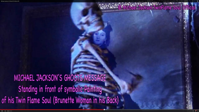 Michael Jackson Ghosts Message Skeleton Standing Front Painting of Twin Soul as in his Dreams © TwinFlame Soul Official Blog