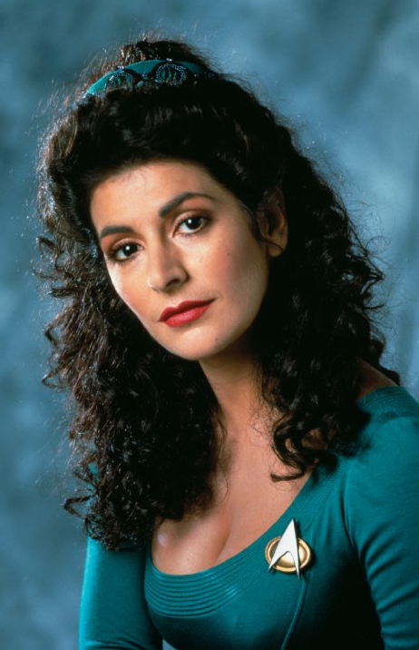 STAR TREK- NEXT GENERATION: Psychic on Board, Counselor Deanna Troi, played by Actress Marina Sirtis - PHOTO EDUCATIONAL PURPOSE ONLY-