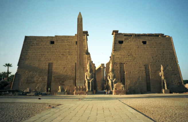 Ancient Egypt Luxor Temple with Twin Obelisks - PHOTO FOR EDUCATIONAL PURPOSE-