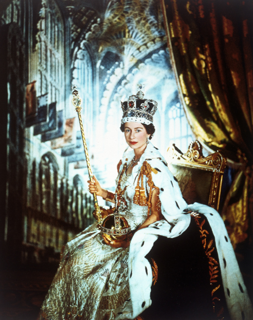 Queen Elizabeth II in Official Coronation Robe and Pose- Photo for Educational Purpose-