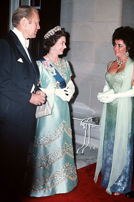 Elizabeth Taylor with Queen Elizabeth II- Photo for Educational Purpose Only-