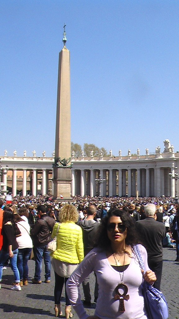 Susan Elsa at the Vatican walking to the Osiris Obelisk at St. Peter Square - Sunday 12th April 2015 © Michael Jackson TwinFlame Soul Official