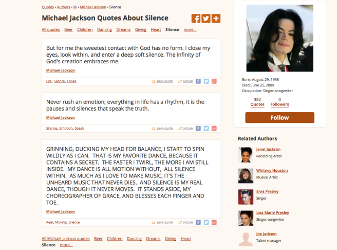 Michael Jackson Quotes about Silence Inside and Dance Energy in Fingers and Toes- Photo for Educational Purpose-