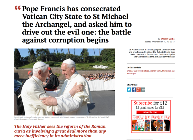 Pope Francis Call to Saint Michael the Archangel to Battle the Evil Energy out of th Vatican and Archangel Statue in Vatican Garden 2013 - Photo for Educational Purpose/ Source: http://www.catholicherald.co.uk