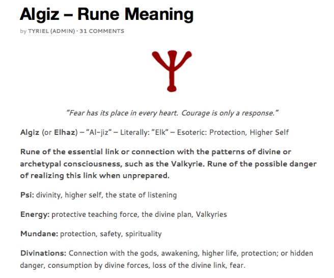 http://runesecrets.com/rune-meanings/algiz - Runes Meaning for Educational Purpose on Michael Jacksons Dangerous Album Teaser