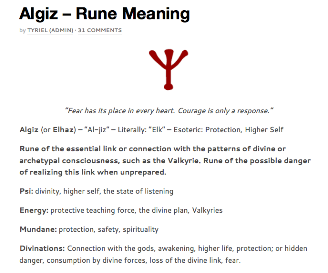 http://runesecrets.com/rune-meanings/algiz - Runes Meaning for Educational Purpose on Michael Jacksons Dangerous Album Teaser