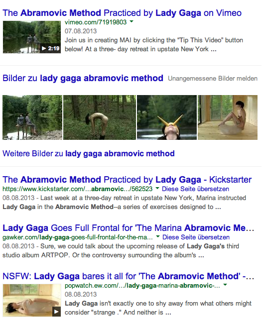 Lady Gaga does Abramovic Method - dated Screenshot evidence August 2013 for educational purpose-