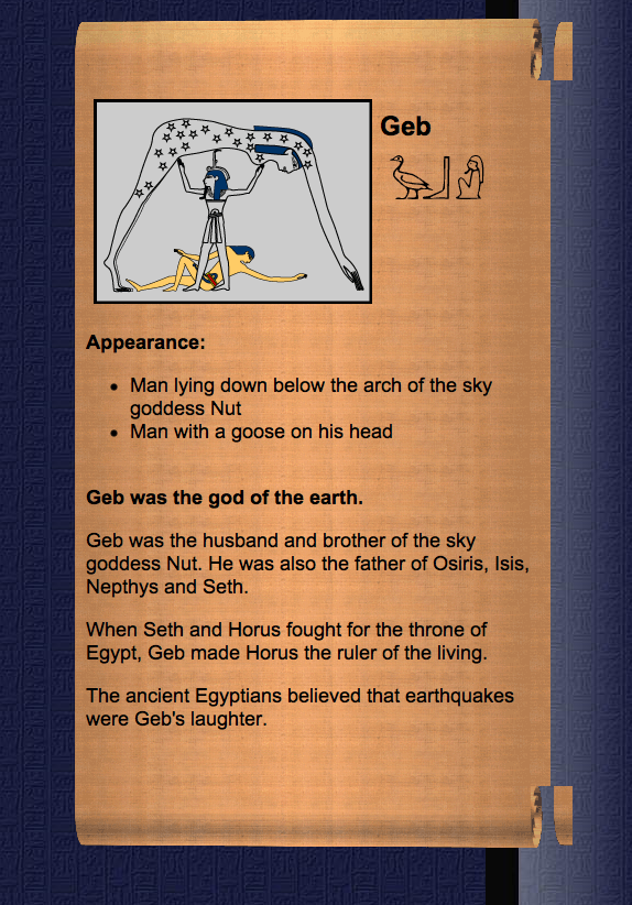 About Geb- The Earth God in Ancient Egyptian Creation Myth - Photo Educational Purpose-