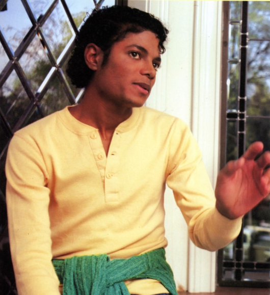 Michael Jackson sitting at Window in Yellow Shirt - early 80s- Photo for educational Purpose