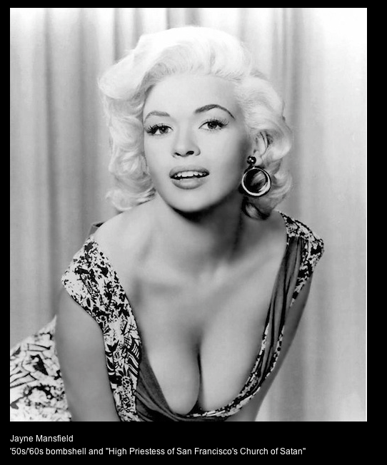 Jayne Mansfield - Satanist and 50s/60s Bombshell in Hollywood (Photo for educational Purpose)