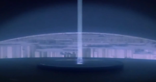 SUPERMAN PHANTOM ZONE SCENE: Looks like the ARCH OF THE LIGHT & THE BLUE RAY pointed in judgement at the 3 evil guys standing there LOL! - ArchangelMichael777-