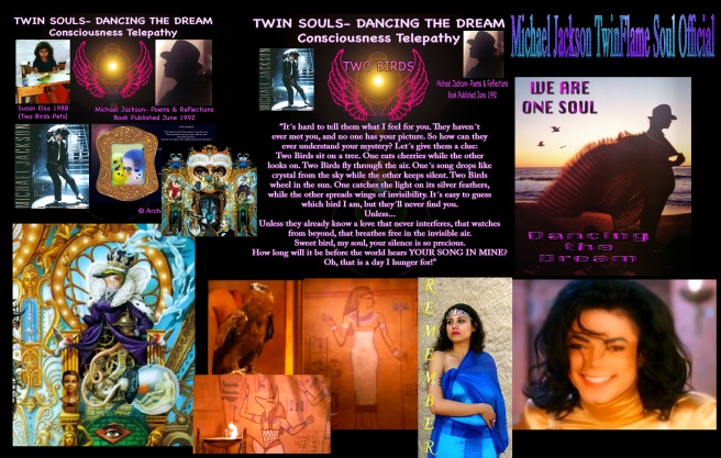 Susan Elsa and Michael Jackson- Two Birds singing Songs intertwined in Soul and Past Life Memory Truth Ancient Egyptian Twin Flame Teachings-Story Collage © Michael Jackson TwinFlame Soul Official