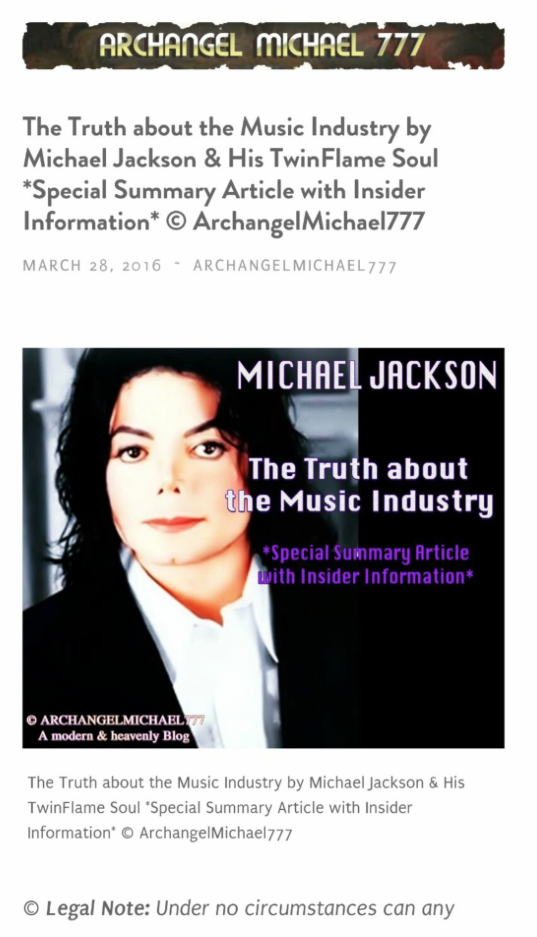 Original Information by Susan Elsa *Evidence Screen Shots* © Michael Jackson TwinFlame Soul Official Blog
