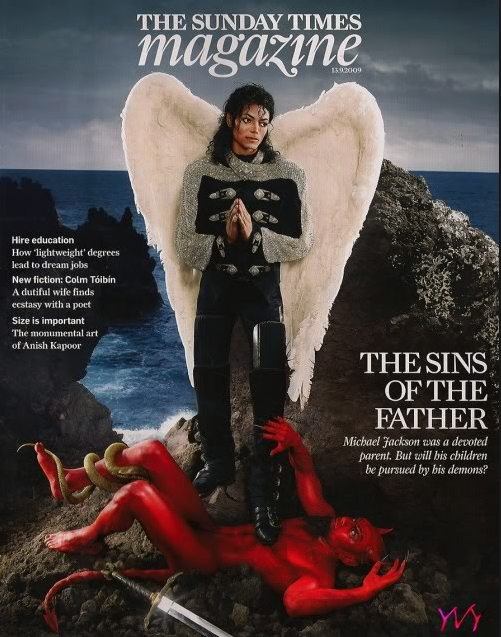 Michael Jackson as Archangel Michael stepping on the Devil in Magazine Cover (Photo for educational Purpose) © ArchangelMichael777