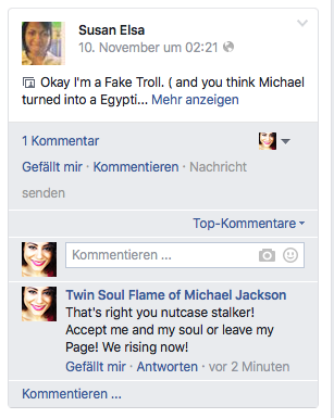 Starcia Jackson (Debbie Stefaniak Fake Account??) - MAKING NOW FAKE PROFILES USING MY NAME ILLEGALLY )-Evidence Screenshots for legal Purpose and educational © Susan Elsa - Michael Jackson TwinFlame Soul Official Blog