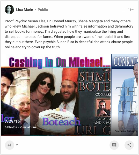 Exposed Online Fake Agent spreading harassing Defamation about Susan Elsa - Photo for legal documentation and educational Purpose- Michael Jackson TwinFlame Soul Official