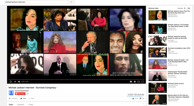 "Youtube Results when searching ""Michael Jackson Interview"" - FAKE ILLUMINATI CLAIMS EVERYWHERE!"