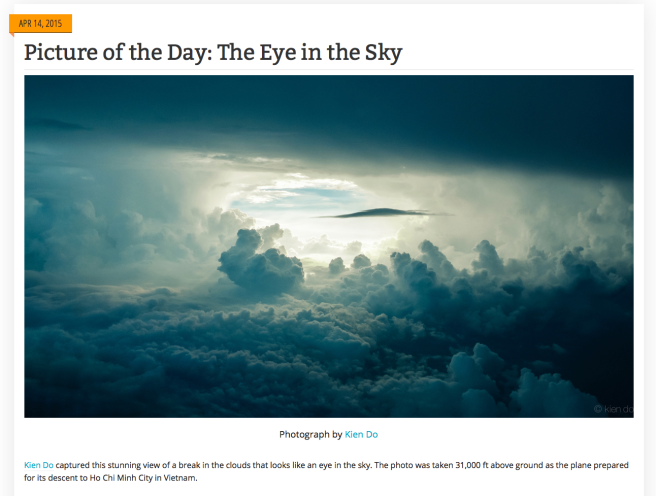 Eye in the Sky - Picture taken by Kien Do on 14th April (Susan Elsa Birthday) - Special ancient Egypt Article on ARCHANGELMICHAEL777 Blog