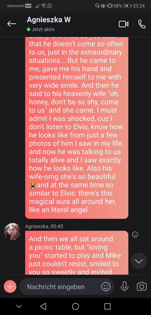Susan Elsa receives incredible Message through Agnes seeing Elvis Presley in Spirit for 1st May 2020 - No2 Screenshot © Agnes W & Susan Elsa - ArchangelMichael777