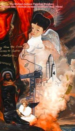 """The Michael Jackson Prophecy: """"Chinese Baby Angel Hiding behind Archangel Michael for Protection"""" © Susan Elsa - Michael Jackson TwinFlame Soul Official"""