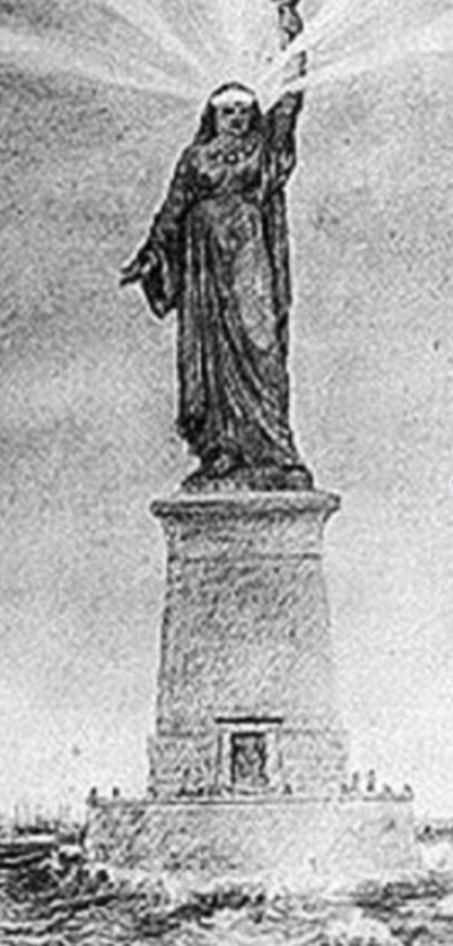The sketch of Bartholdi's proposal for the Suez Canal shows a Muslim woman wearing traditional Arab clothing.Photo: Getty Images